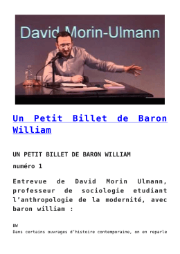 Un Petit Billet de Baron William