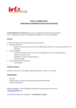 APPEL à CANDIDATURE : ASSISTANT(E)