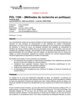POL 1100 - Département de science politique