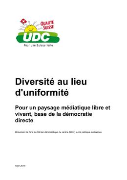 Diversité au lieu d`uniformité