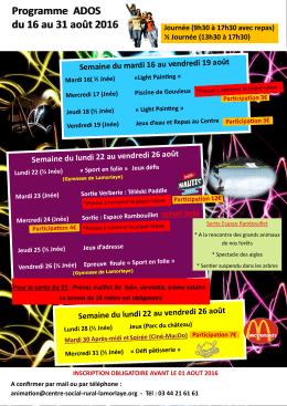 programme aout 2016 - Centre social et rural Lamorlaye