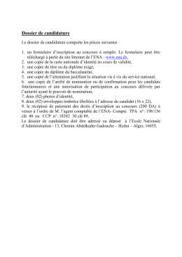 Dossier de candidature - Ecole Nationale d`Administration