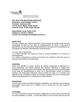 pol 3010- les relations nord-sud - Département de science politique