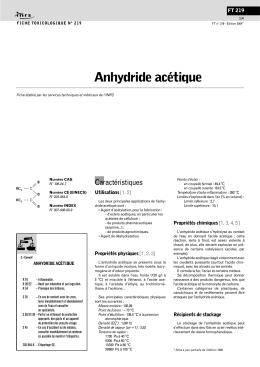 Anhydride acétique (FT 219) - Fiche toxicologique