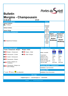 Bulletin Morgins - Champoussin