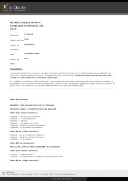 Manuel pratique de droit communal en Wallonie (éd