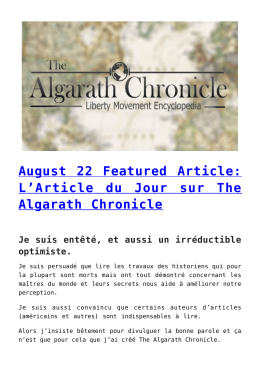 August 22 Featured Article: L`Article du Jour sur The Algarath