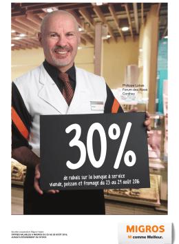 30%de rabais sur la banque à service viande, poisson et fromage