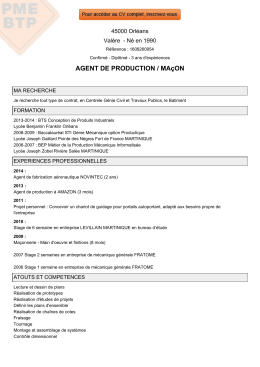 AGENT DE PRODUCTION / MAçON