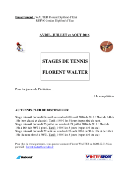 STAGES DE TENNIS FLORENT WALTER