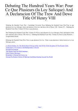 Debating The Hundred Years War: Pour Ce Que Plusieurs (la Loy