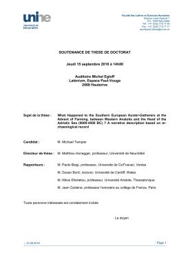 Soutenance de thèse - M. Michael Templer