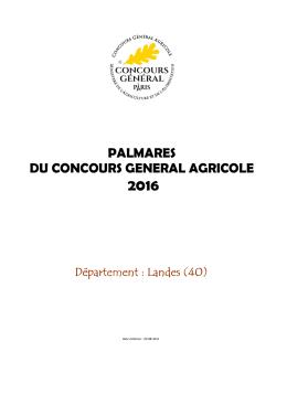 Palmarès  - Concours Général Agricole