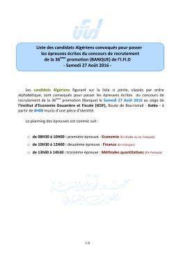 Liste des candidats Algériens convoqués pour passer les
