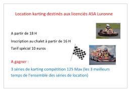Location karting destinés aux licenciés ASA Luronne