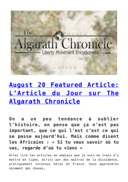 August 20 Featured Article: L`Article du Jour sur The Algarath