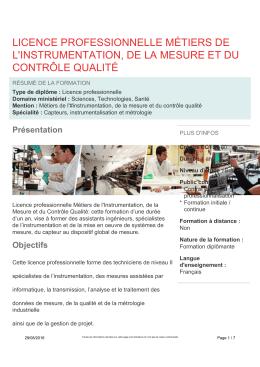 licence professionnelle métiers de l`instrumentation, de la mesure et