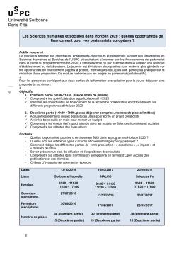 Opportunités de financement en SHS