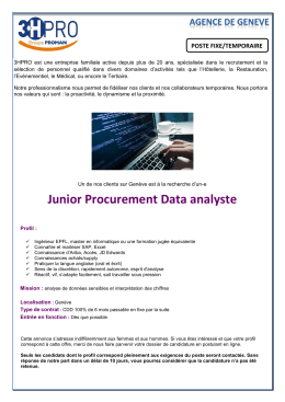 Junior Procurement Data analyste