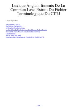 Lexique Anglais-francais De La Common Law: Extrait Du Fichier