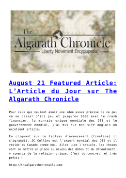 August 21 Featured Article: L`Article du Jour sur The Algarath