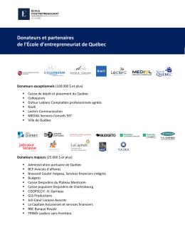 Donateurs et partenaires de l`École d`entrepreneuriat de Québec