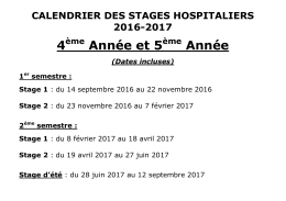 Calendrier Stages Hospitaliers D2-D3 2016-2017