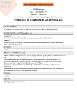 TECHNICIEN DE MAINTENANCE MULTI TECHNIQUE