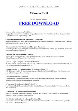 VITAMINE 2 CD   Free eBook PDF