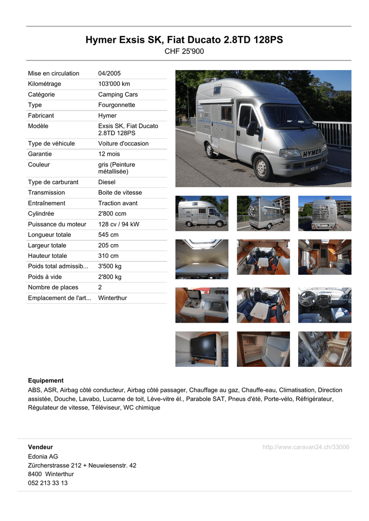 Hymer Exsis SK, Fiat Ducato 2 8TD 128PS