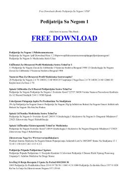PEDIJATRIJA SA NEGOM 1 - Free Book
