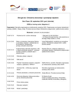 Okrugli sto: Cirkularna ekonomija i upravljanje otpadom