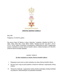 J A V N I P O Z I V - Državna izborna komisija