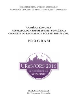 Program kongresa - Udruženje reumatologa Srbije