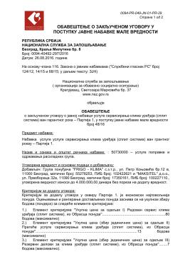 Obaveštenje o zaključenom ugovoru, jnmv 48/16 Partija 1
