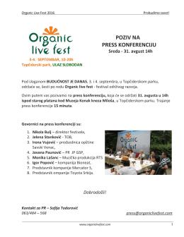 Press Konferencija Organic Fest