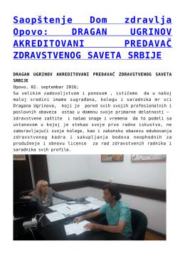 Saopštenje Dom zdravlja Opovo: DRAGAN UGRINOV