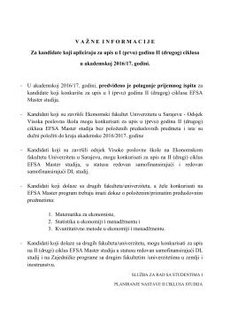 Vazne informacije za kandidate II _drugog_ ciklusa