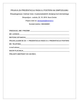 prijava za prezentaciju rada ili postera na simpozijumu
