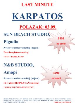 LAST MINUTE POLAZAK: 03.09. SUN BEACH STUDIO, Pigadia