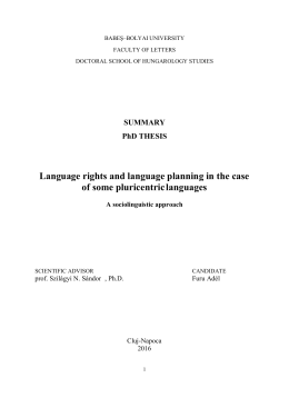 SUMMARY PhD THESIS Language rights and language planning in