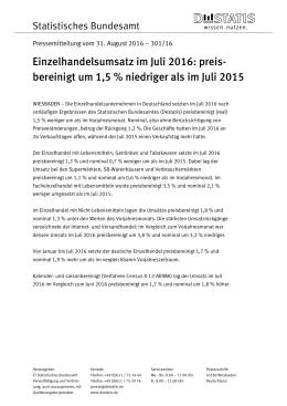 preisbereinigt um 1,5 % niedriger als im Juli 2015 (PDF, 97 kB