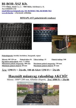 Rimaplast palacktároló rendszer és műanyagraklap - Bí-Bor
