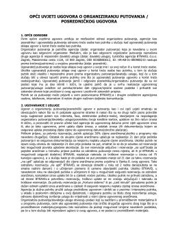 opći uvjeti ugovora o organiziranju putovanja