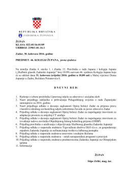 Dnevni red i materijali za 46. sjednicu Kolegija župana