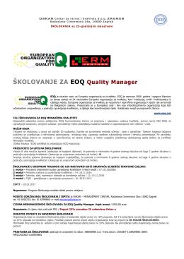 ŠKOLOVANJE ZA EOQ Quality Manager