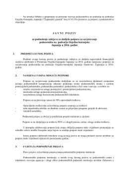J A V N I   P O Z I V za podnošenje zahtjeva za dodjelu potpora za