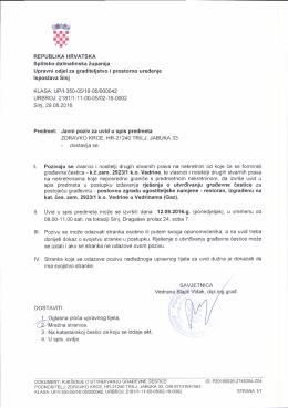 Javni poziv za uvid u spis u postupku izdavanja rješenja o