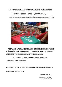 """13. tradicionalni međunarodni košarkaški turnir – street ball """" kupa"""