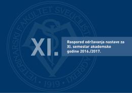 Raspored nastave za XI. semestar - Veterinarski fakultet Sveučilišta